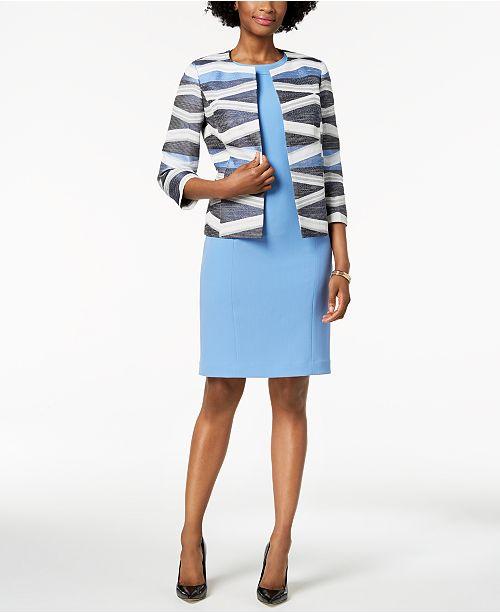 Kasper Flyaway Jacket Sheath Dress Regular Petite Wear To