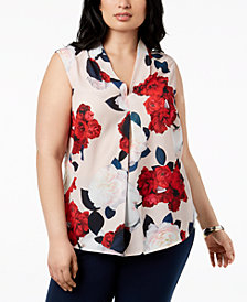 Nine West Plus Size Floral-Print V-Neck Shell