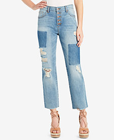 Jessica Simpson Juniors' Cotton Adored Straight-Leg Cropped Patch Jeans