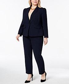 Tahari ASL Plus Size Textured Herringbone Pantsuit