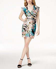 GUESS Floral-Print Surplice Dress