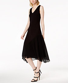 Bar III Sleeveless Pleated-Contrast Midi Dress, Created for Macy's