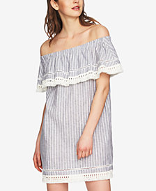 1.STATE Off-The-Shoulder Fringe Flounce Dress