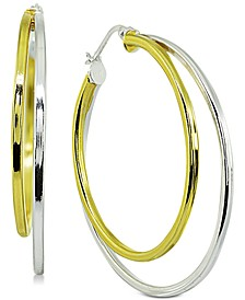 """Medium Two-Tone Double Hoop Earrings in Sterling Silver & 18k Gold-Plated Sterling Silver, 1.5"""", Created for Macy's"""