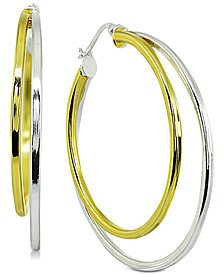 "Giani Bernini Medium Two-Tone Double Hoop Earrings in Sterling Silver & 18k Gold-Plated Sterling Silver, 1.5"", Created for Macy's"
