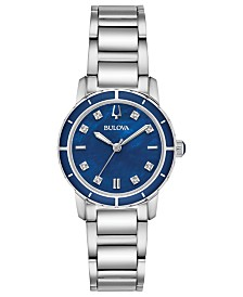 Bulova Women's Diamond-Accent Stainless Steel Bracelet Watch 30mm, Created for Macy's