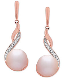 Honora Style Blush Cultured Freshwater Pearl (8mm) & Diamond (1/3 ct. t.w.) Drop Earrings in 14k Rose Gold