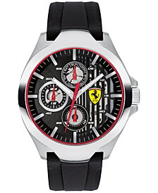 Ferrari Men's Chronograph Aero Black Silicone Strap Watch 44mm