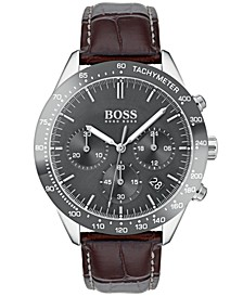 Hugo Boss Men's Chronograph Oxygen Brown Leather Strap Watch 42mm