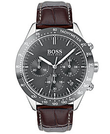 BOSS Hugo Boss Men's Chronograph Oxygen Brown Leather Strap Watch 42mm