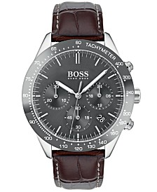 BOSS Hugo Boss Men's Chronograph Oxygen Brown Leather Strap Watch 42mm