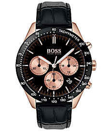 BOSS Hugo Boss Men's Chronograph Talent Black Leather Strap Watch 42mm