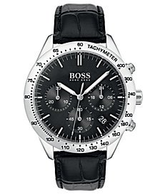 BOSS Hugo Boss Men's Chronograph Oxygen Black Leather Strap Watch 42mm