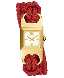 Tory Burch Women's Double T-Link Red Leather Double Wrap Strap Watch 18x18mm
