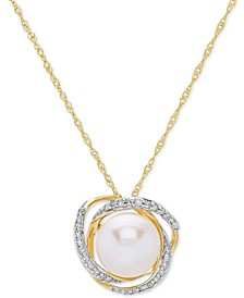 "Cultured Freshwater Pearl (8mm) & Diamond (1/8 ct. t.w.) 18"" Pendant Necklace in 14k Gold"
