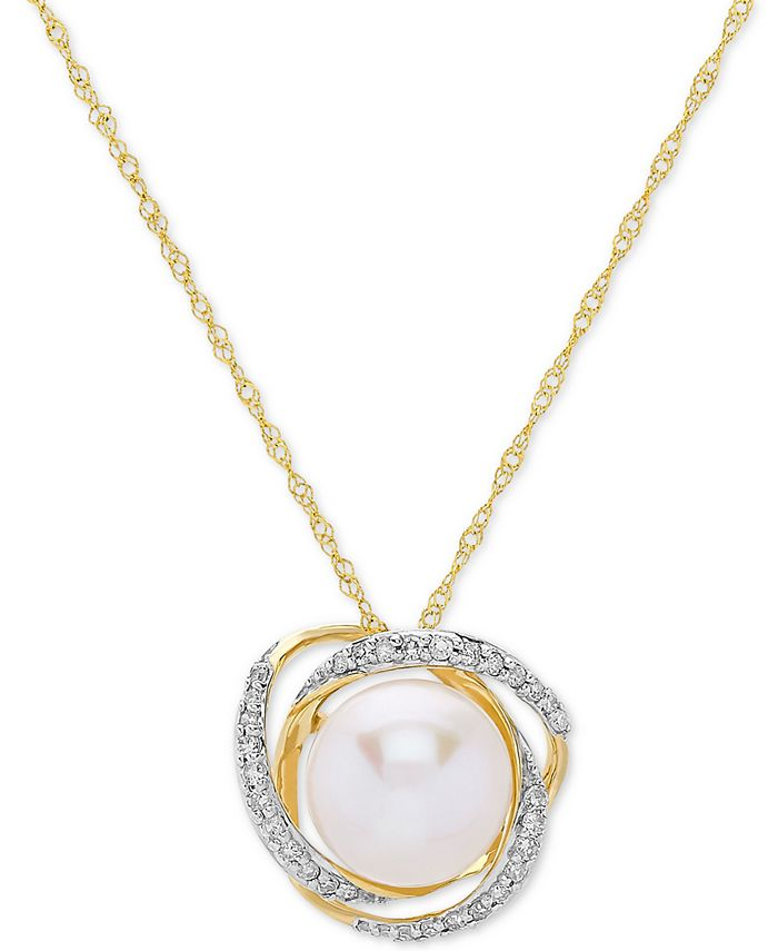 """Honora - Cultured Freshwater Pearl (8mm) & Diamond (1/8 ct. t.w.) 18"""" Pendant Necklace in 14k Gold"""