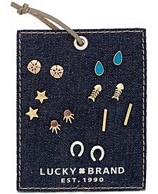Lucky Brand Two-Tone 7-Pc. Set Colored Stone Stud Earrings