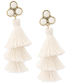 Lucky Brand Gold-Tone Stone & Tiered Tassel Drop Earrings, Created for Macy's