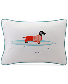 "HipStyle Oscar 14"" x 20"" Surfboard Dog Appliqué Oblong Decorative Pillow"