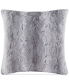 "Madison Park Zuri Faux-Fur 25"" Square European Decorative Pillow"