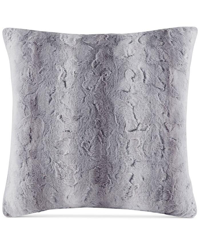 """Madison Park - Zuri Faux-Fur 25"""" Square European Decorative Pillow"""