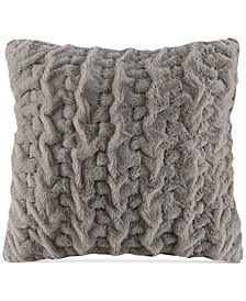 "Hand-Ruched 25"" Square Faux-Fur European Decorative Pillow"