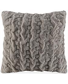 """Madison Park Hand-Ruched 25"""" Square Faux-Fur European Decorative Pillow"""