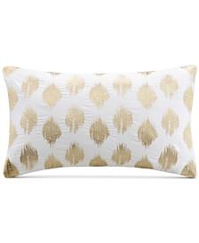 "Nadia 12"" x 18"" Metallic Ikat Dot-Embroidered Oblong Decorative Pillow"