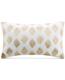 "INK+IVY Nadia 12"" x 18"" Metallic Ikat Dot-Embroidered Oblong Decorative Pillow"