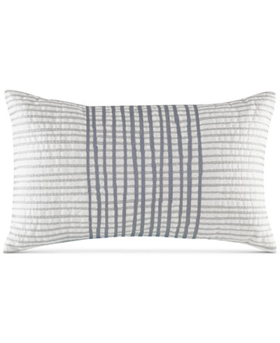 INKIVY Bishop 40 X 40 Embroidered Stripe Oblong Decorative Pillow Cool White Oblong Decorative Pillow
