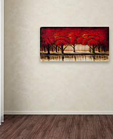 "Rio 'Parade of Red Trees II' 10"" x 19"" Canvas Art Print"