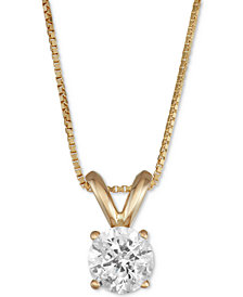 "Macy's Star Signature Diamond™ Certified Diamond Solitaire 18"" Pendant Necklace (1/2 ct. t.w.) in 14k Gold or White Gold"