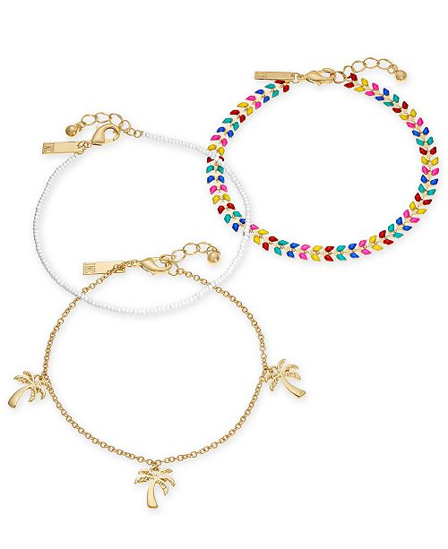 I N C Gold Tone 3 Pc Set Stone Bead Palm Tree Ankle Bracelets Created For Macy S