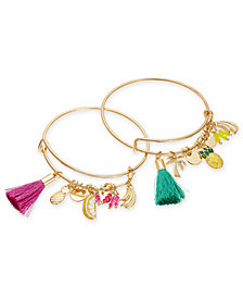 I.N.C. Gold-Tone 2-Pc. Set Bead, Tassel & Fruit Charm Bangle Bracelets, Created for Macy's