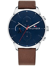 Men's Dark Brown Leather Strap Watch 44mm