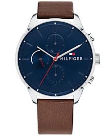 Men's Dark Brown Leather Strap Watch 44mm