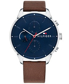 Tommy Hilfiger Men's Dark Brown Leather Strap Watch 44mm