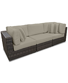 Viewport Outdoor 3-Pc. Modular Seating Set (2 Corner Units and 1 Armless Unit) with Custom Sunbrella® Cushions, Created for Macy's