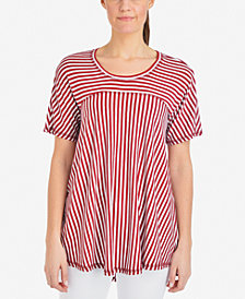 NY Collection Striped High-Low Top