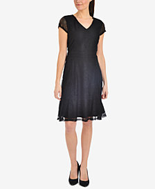 NY Collection Lace Ruffle-Hem Dress