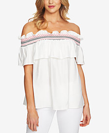 CeCe Smocked Off-The-Shoulder Top