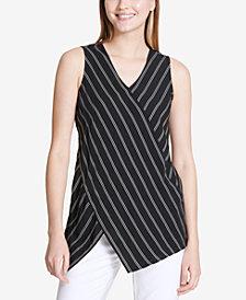 Calvin Klein Asymmetrical Striped Top