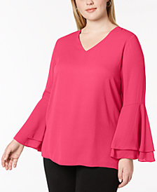 Alfani Plus Size Ruffled Blouse, Created for Macy's