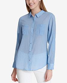 Calvin Klein Cotton Crinkle Button-Front Blouse