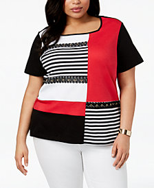 Alfred Dunner Barcelona  Plus Size Embellished Colorblocked Top