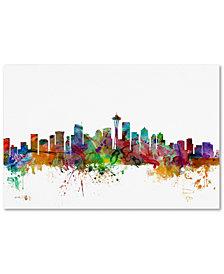 """Michael Tompsett 'Seattle Washington Skyline' 16"""" x 24"""" Canvas Wall Art"""