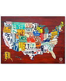 "Design Turnpike 'License Plate Map USA' 24"" x 32"" Canvas Art Print"