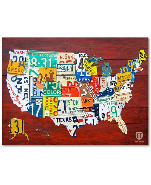 Trademark Global Design Turnpike \'License Plate Map USA\' Canvas Art ...