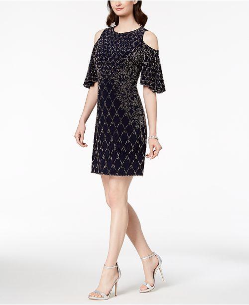 Dress Embellished XSCAPE Shoulder Cold Navy ft0xnP