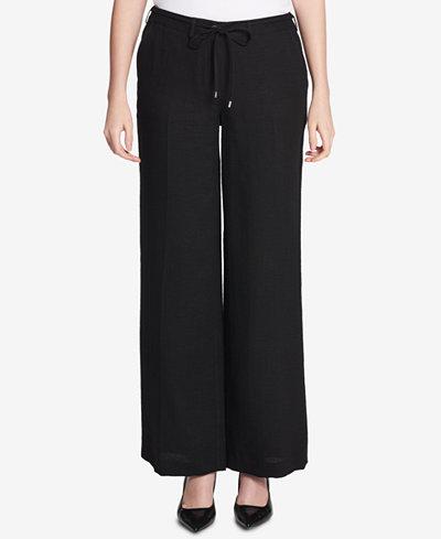 Calvin Klein Tie-Waist Tweed Pants
